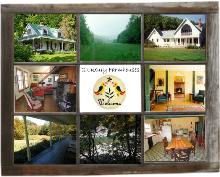 Scenes form Two lovingly restored farmhouses on a beautiful stretch of river in central Vermont